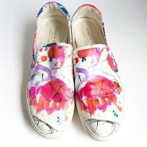 Kenneth Cole graffiti paint platform sneakers sz 9